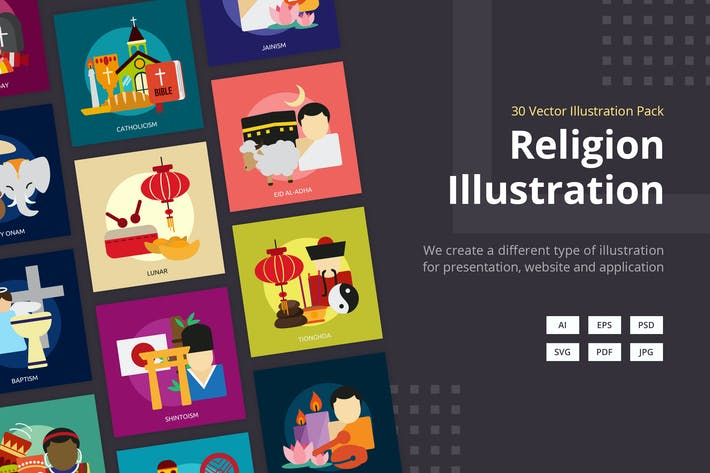 Religion and Celebrations Vector Illustration