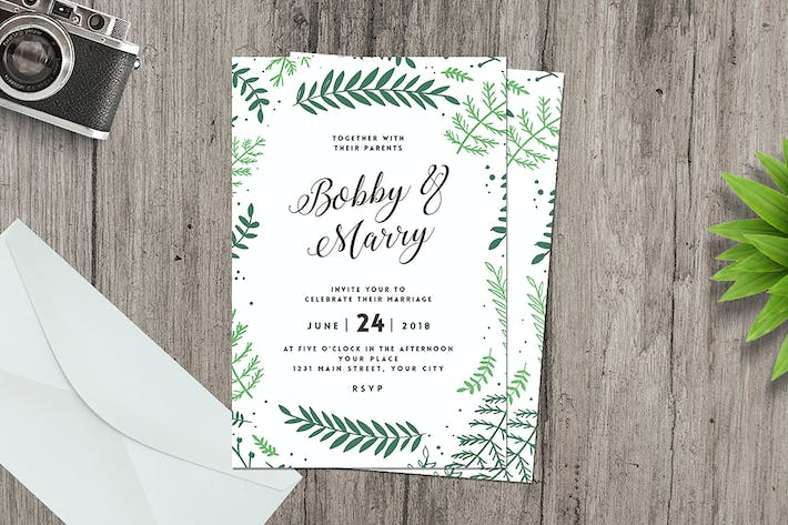 Thumbnail for Green floral wedding invitation