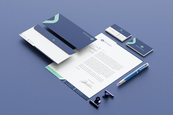 Thumbnail for Grüne Markenidentitäts- und Schreibwarenpaket