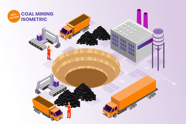 Thumbnail for Isometric Coal Mining Vector Illustration
