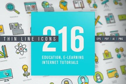 Conjunto de Íconos de línea delgada para la educación en línea