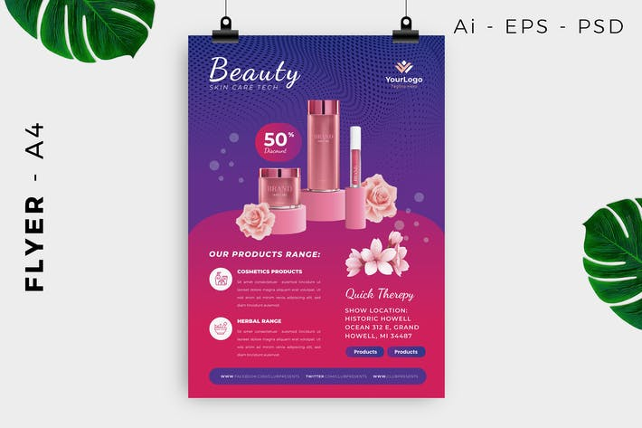Cosmetics Product Flyer Design