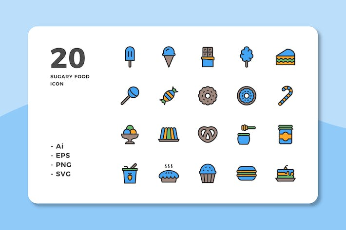 Cover Image For 20 Sugary Food Icons (Lineal Color)