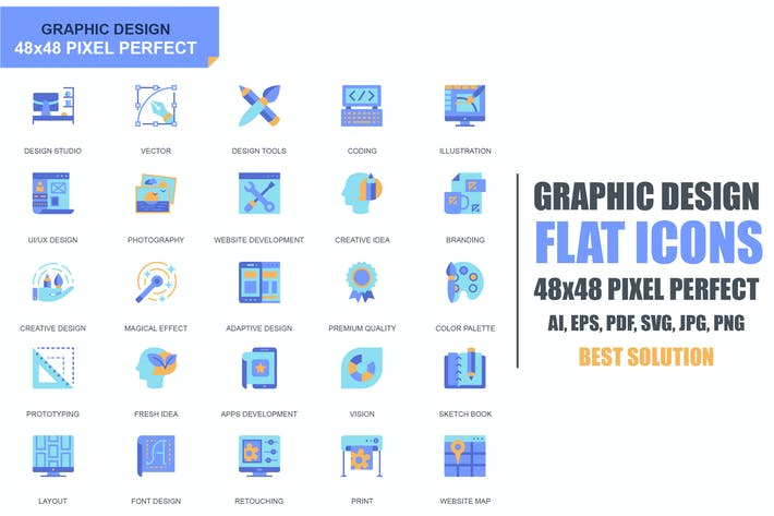 Thumbnail for Simple Set Web and Graphic Design Flat Icons