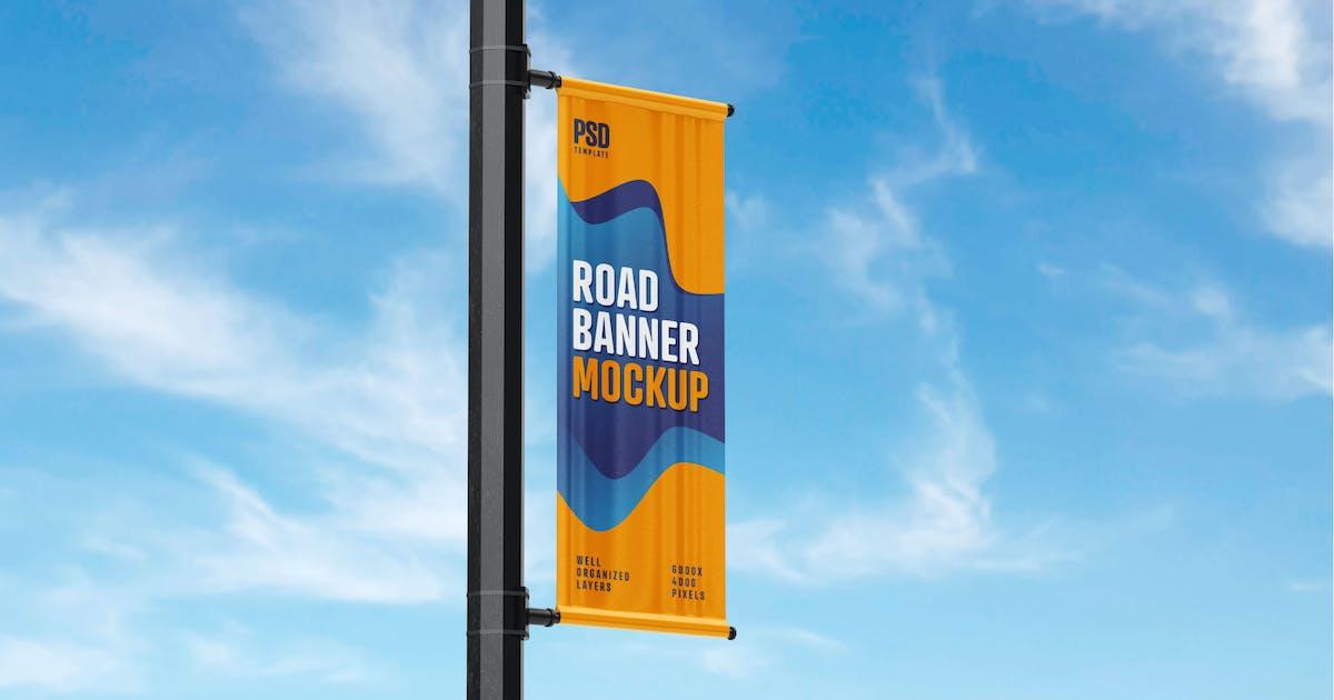 Download Street Pole Banner Mockup by deeplabstudio