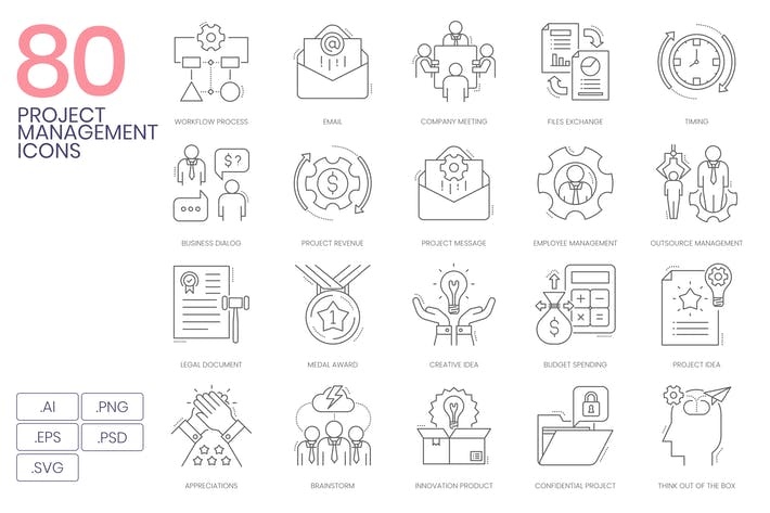 Thumbnail for 80 Project Management Line Icons