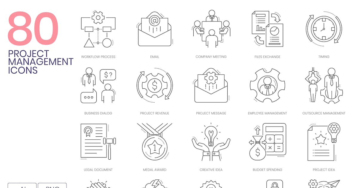 Download 80 Project Management Line Icons by Krafted