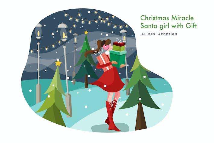 Thumbnail for Santa Girl with Gift Vector Illustration