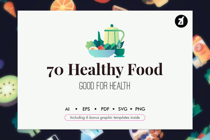 Cover Image For 70 Healthy Food elements with bonus graphics