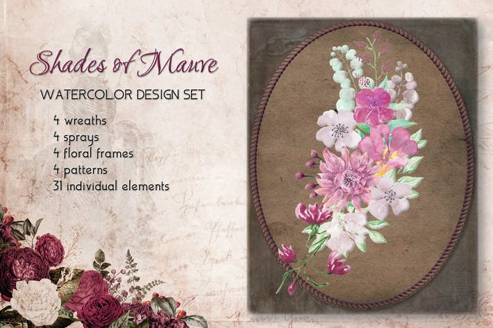 Thumbnail for Shades of Mauve Watercolor Design Set