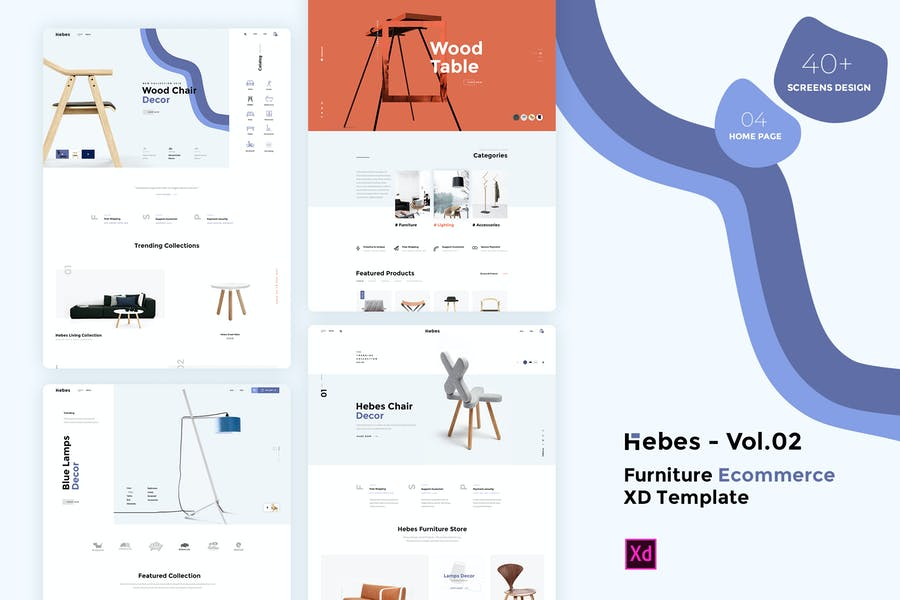 HEBES Vol.02 - furniture Ecommerce XD Template