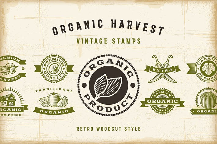 Cover Image For Vintage Organic Harvest Stamps Set