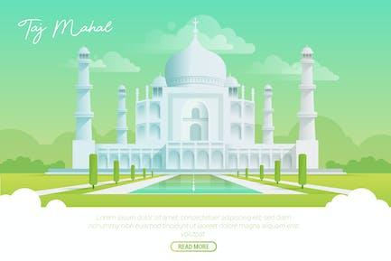 Taj Mahal - Vector Landscape & Building