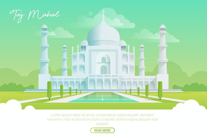 Thumbnail for Taj Mahal - Vector Landscape & Building