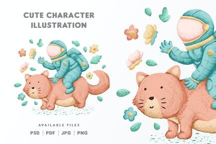 Cute Astronaut Character Design Illustration