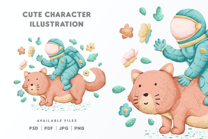 Illustration de personnage d'astronaute mignon