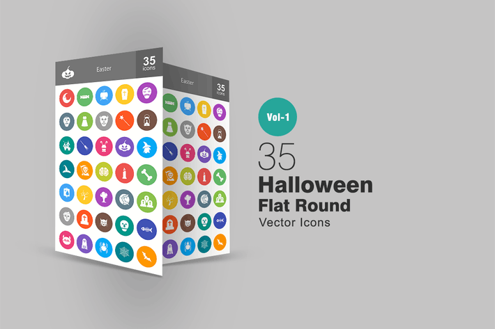 Thumbnail for 35 Halloween Flat Round Icons
