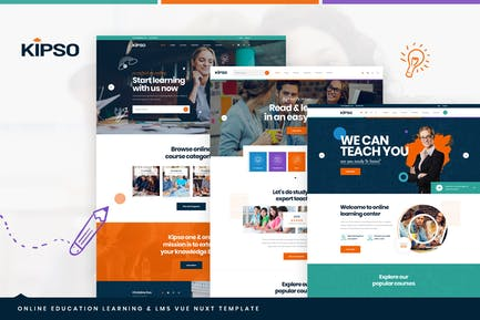 Kipso - Vue Nuxt Online Education Learning & LMS