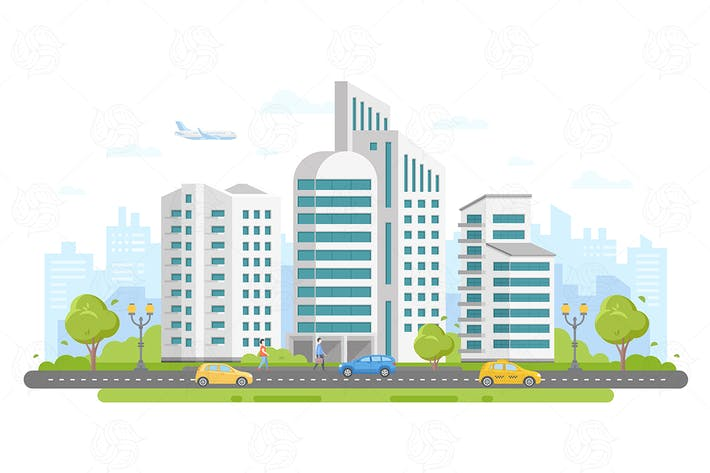 Thumbnail for Urban landscape -flat vector illustration
