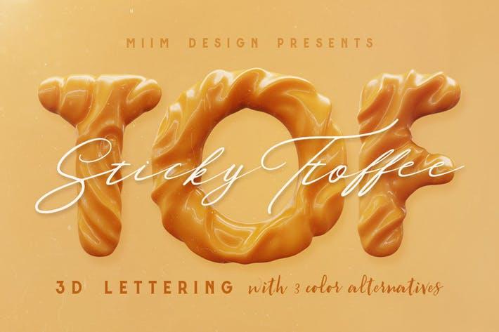 Sticky Toffee - 3D Lettering