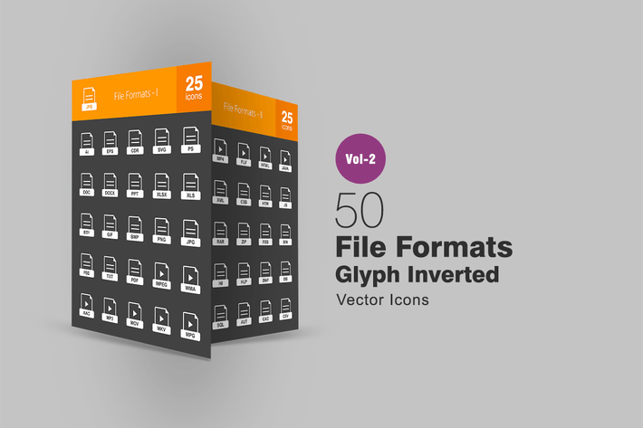 Thumbnail for 50 Dateiformate Glyph Inverted Icons