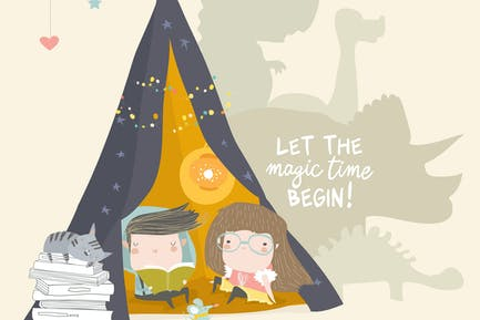 Kids reading book in a teepee tent . Vector Illust