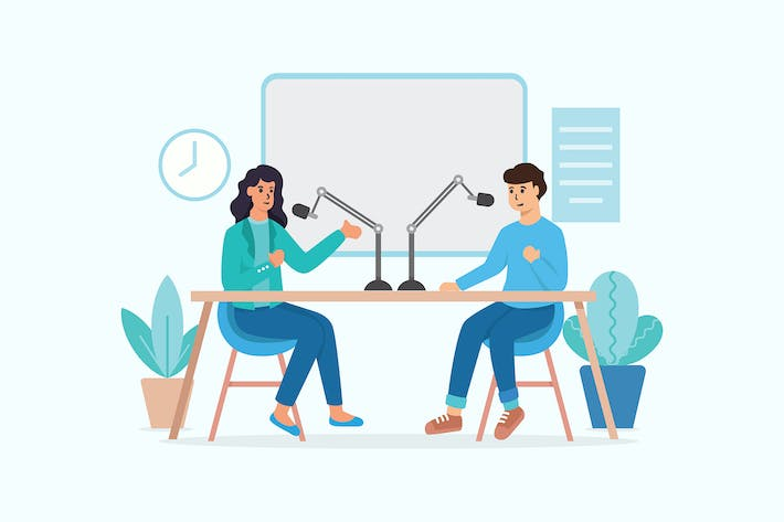 Thumbnail for Podcast in Studio Vector Illustration Concept