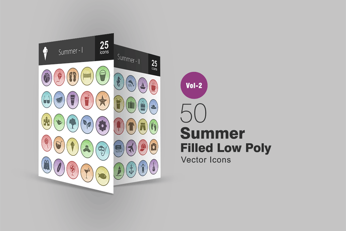 Thumbnail for 50 Summer Filled Low Poly Icons