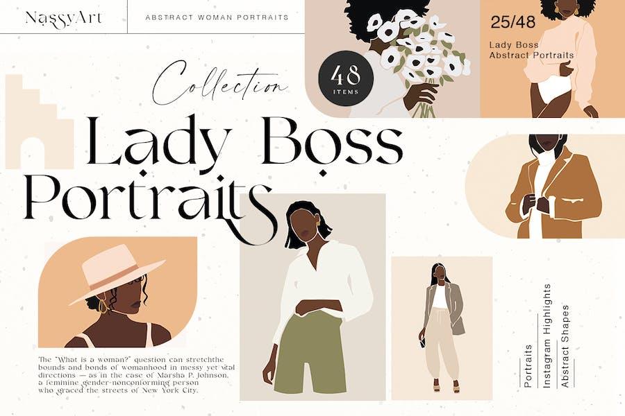 Lady Boss Frau Abstrakte Porträ