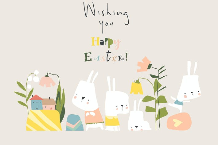 Vector Cartoon Easter illustration with rabbits,