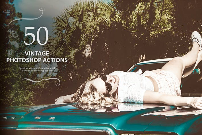 Thumbnail for 50 Vintage Photoshop Actions