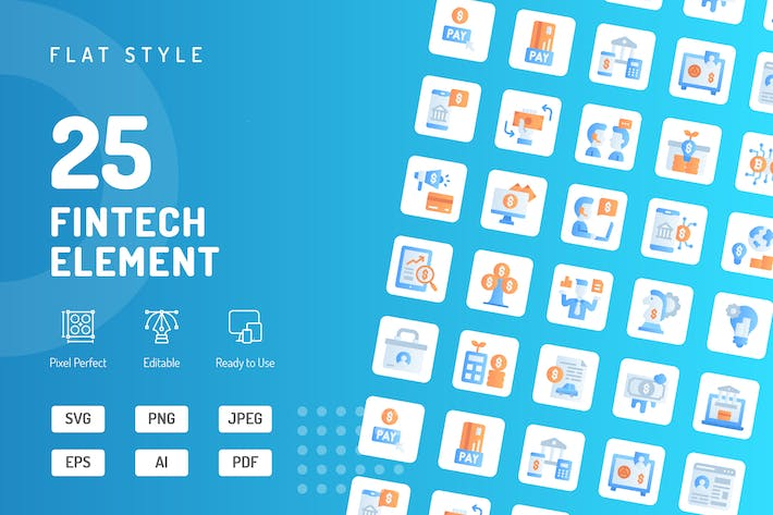 Thumbnail for Fintech Element Flache Icons