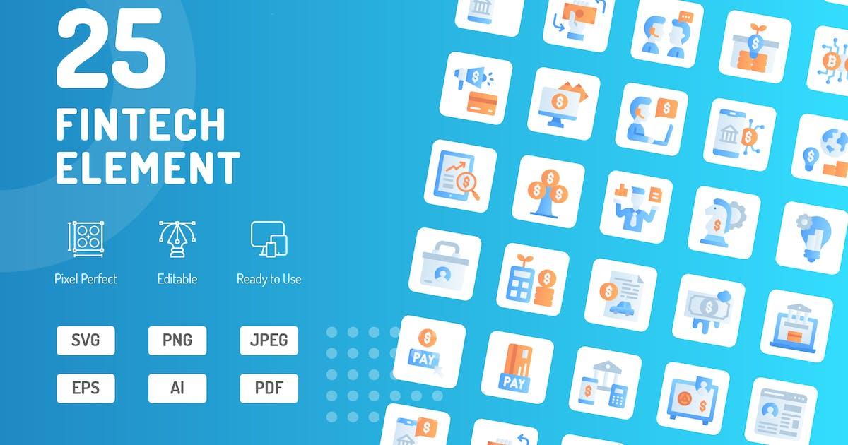 Download Fintech Element Flat Icons by kerismaker
