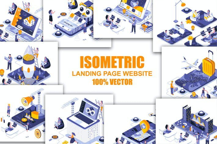 Thumbnail for Collection Flat Isometric Header Flat Concept