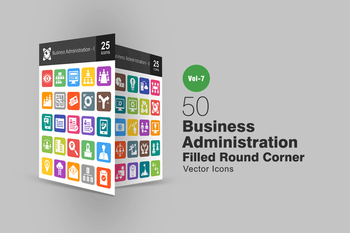 Thumbnail for 50 Business Admin Filled Round Corner Icons