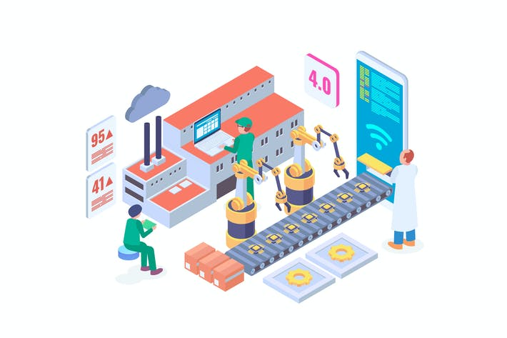 Thumbnail for Industry 4.0 Automation Isometric Vector