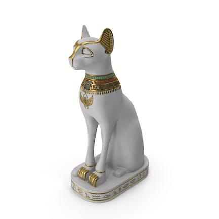 Statue ägyptische Katze Weiß