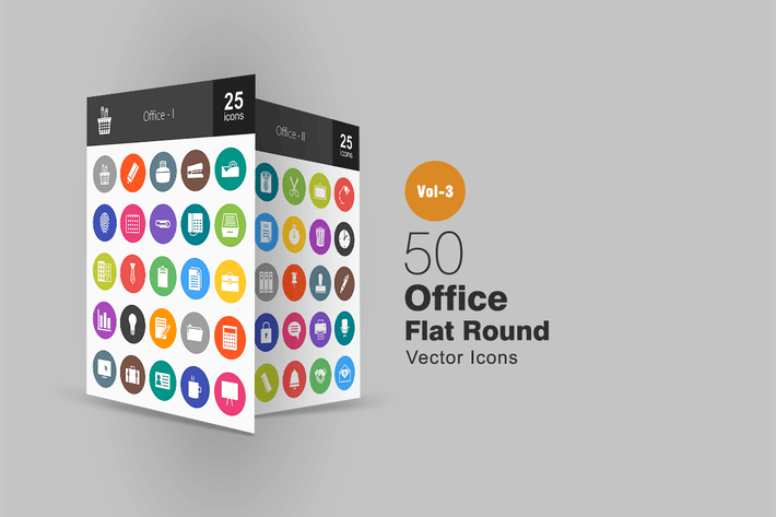 Thumbnail for 50 Office Flat Round Icons