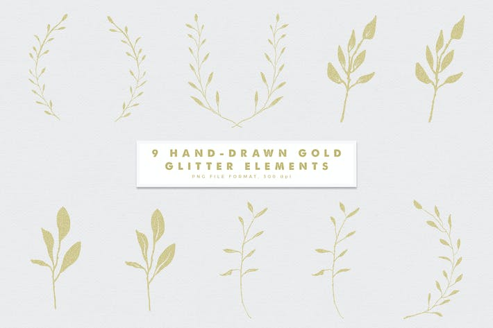 Thumbnail for Gold-4 Glitter Hand Drawn Elements
