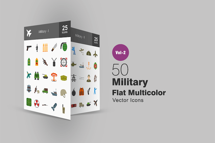 Thumbnail for 50 Military Flat Multicolor Icons