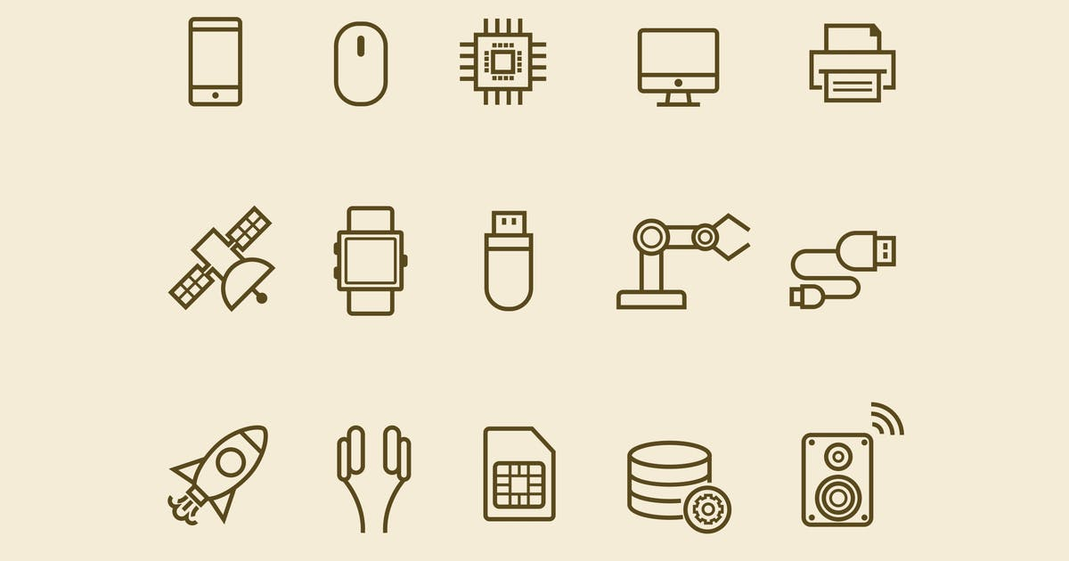 Download 15 Thin Line Technology Icons by creativevip