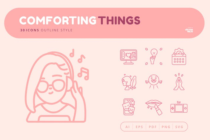 30 Icons Comforting Things Outline Style