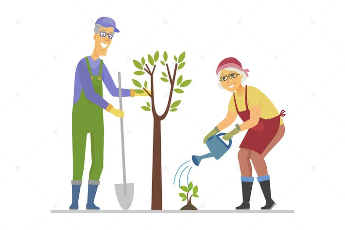Thumbnail for Senior people planting a tree - flat illustration