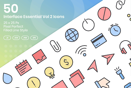 50 Interface Essential Icons Vol 2 - Filled Line