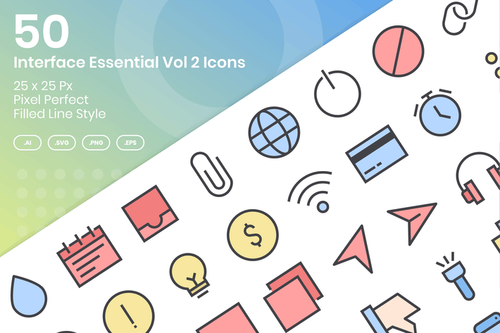 Thumbnail for 50 Interface Essential Icons Vol 2 - Filled Line