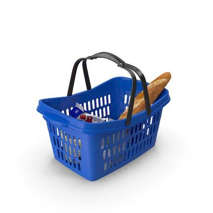 Einkaufskorb aus Kunststoff mit Waren