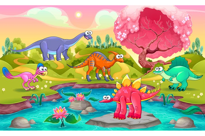 Group of Dinosaurs in a Natural Landscape
