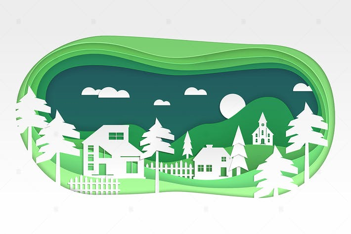 Thumbnail for Village - modern vector paper cut illustration