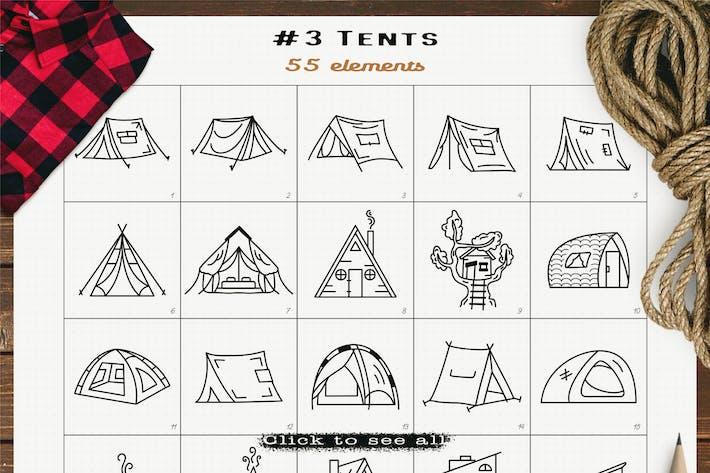 Camping-Zelt-Ikonen Set Linie Kunst Grafiken Symbole