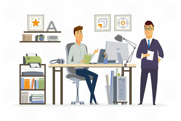 Cover Image For Partner Meeting - vector cartoon illustration